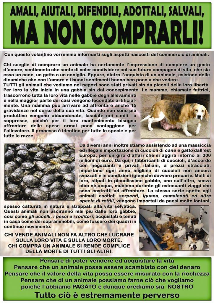 volantino contro la vendita di animali