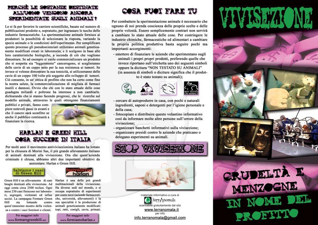volantino contro la vivisezione